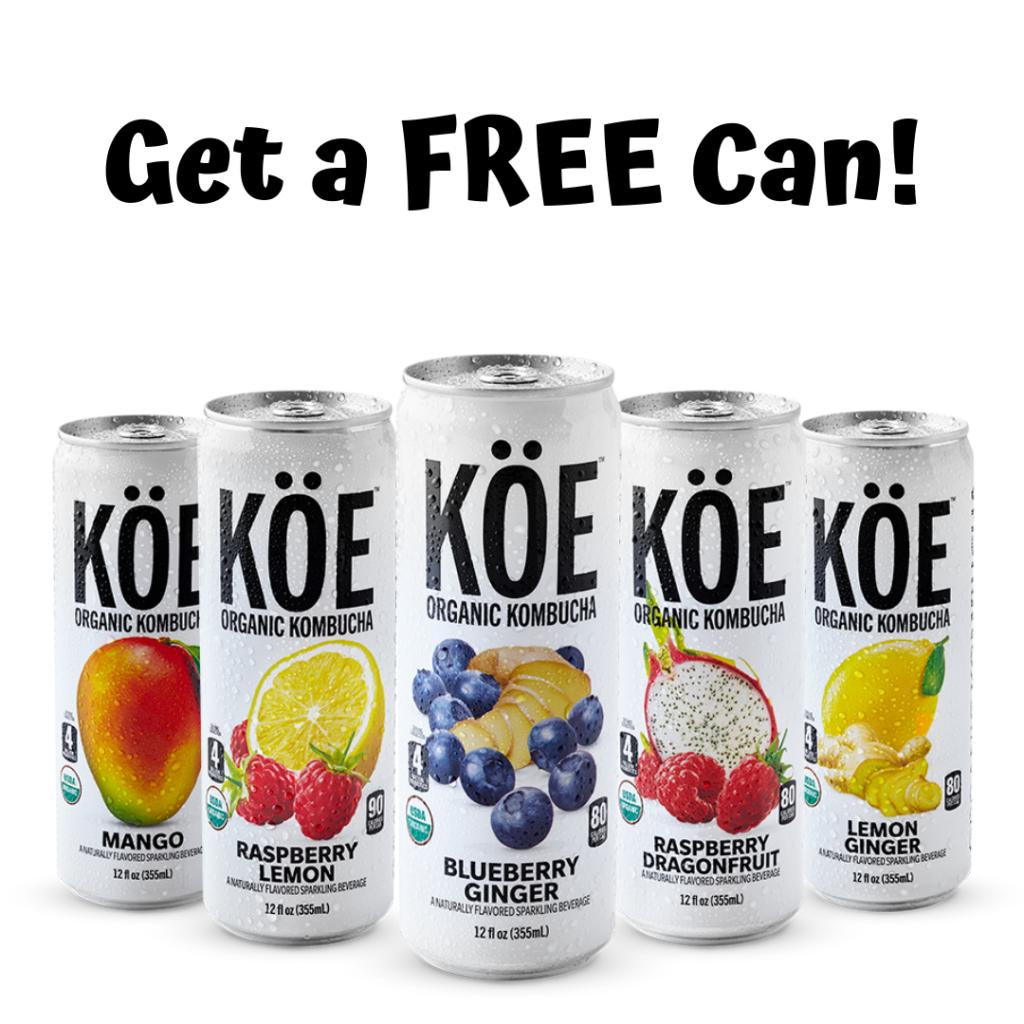 Free Can of KOE Organic Kombucha!