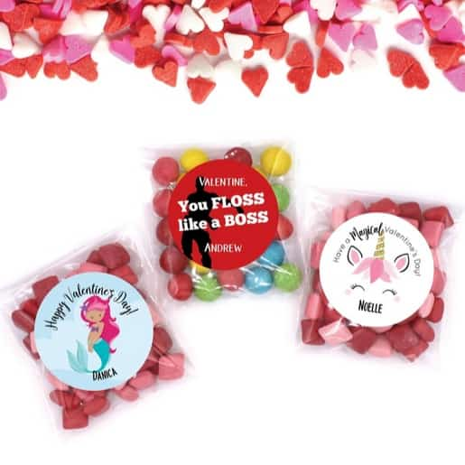 Custom Valentine Stickers & Bags Only $6.95 **18 Designs**