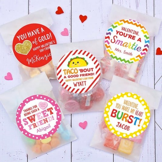 Personalized Valentine Stickers & Bags Only $7.95 **Make 24 Gifts**