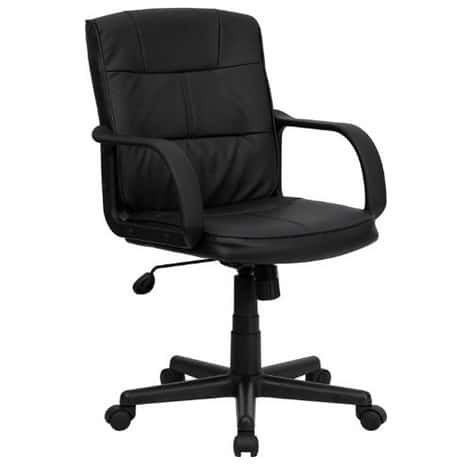 Up to 71% Off Office Furniture ~ Mid-Back Leather Swivel Chair w/Arms $45.60