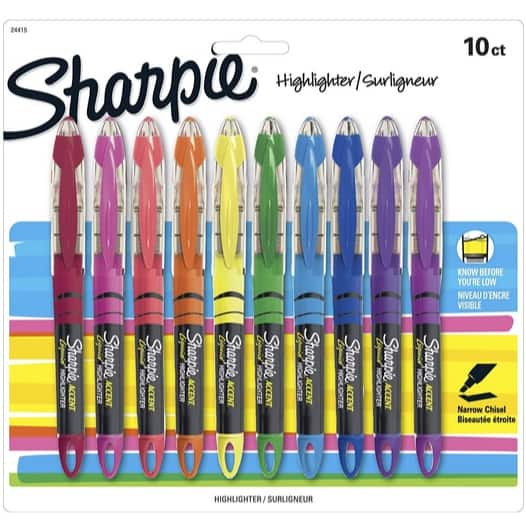 Sharpie Liquid Highlighters 10-Count Only $6.50