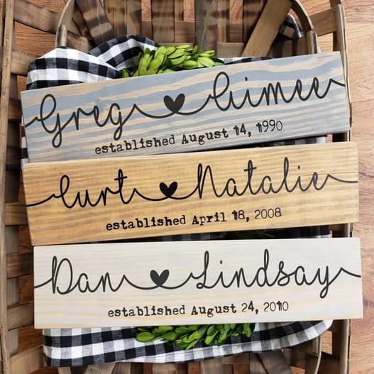 Personalized Couple Name Sign $13.99