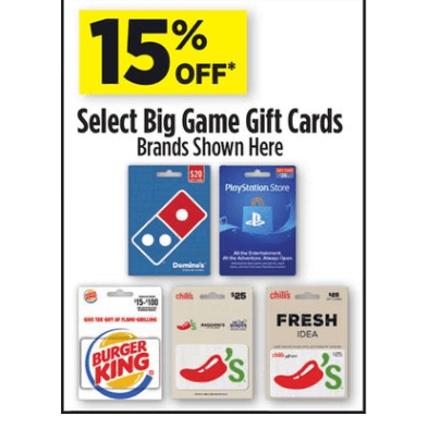 Dollar General: Save 15% off Gift Cards - Domino's - Playstation - Chili's - and More