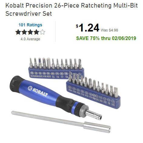 HURRY!!! Kobalt Precision 26-Piece Ratcheting Multi-Bit Screwdriver Set ONLY $1.24 at Lowe's