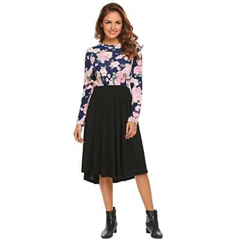 Women Long Sleeve Pockets Floral Print Flowly Loose Dress Only $12.99