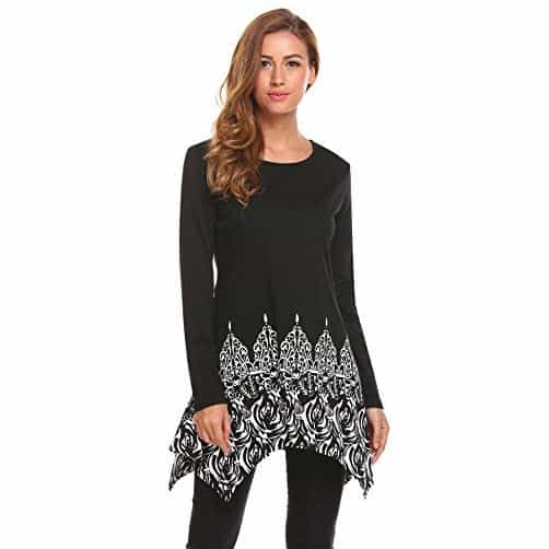 Women Printed Long Sleeve Asymmetrical Hem A Line Casual Flow Tunic Top Only $12.50