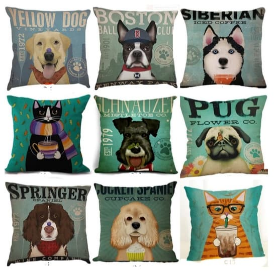 Funny Dog & Cat Pillow Covers Only $7.99