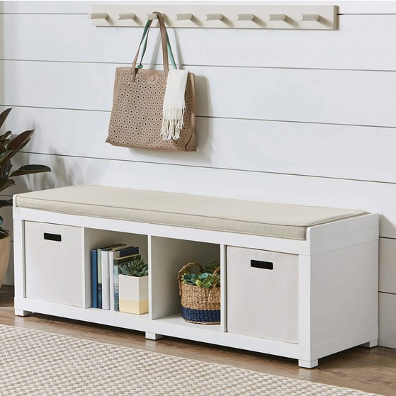 Better Homes and Gardens 4-Cube Organizer Storage Bench $59.99 **5 Finishes Available**
