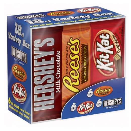 18-Count Hersheys Chocolate Full Size Candy Bar Variety Pack Only $8.56