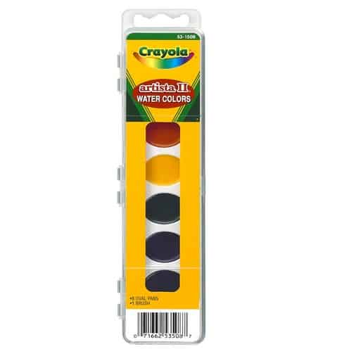 Crayola Artista 8 Semi-Moist Oval Pans Watercolor Set with Brush Only $2.08