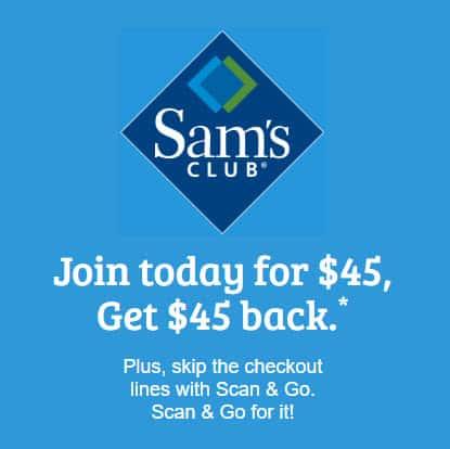 One Year Sam's Club Membership $45 + FREE $45 Credit