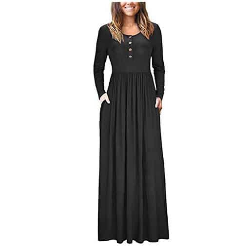 shangke Women Long Sleeve Loose Plain Maxi Dress Only $13.99
