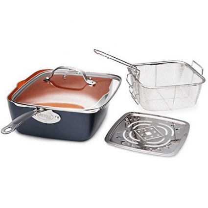 """Gotham Steel 9.5"""" Non-Stick Copper Deep Square Frying & Cooking Pan $26.56 (Was $100)"""