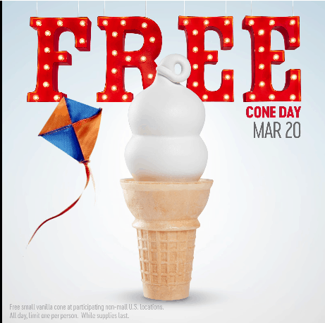 Dairy Queen: Free Ice Cream Cone on 3/20