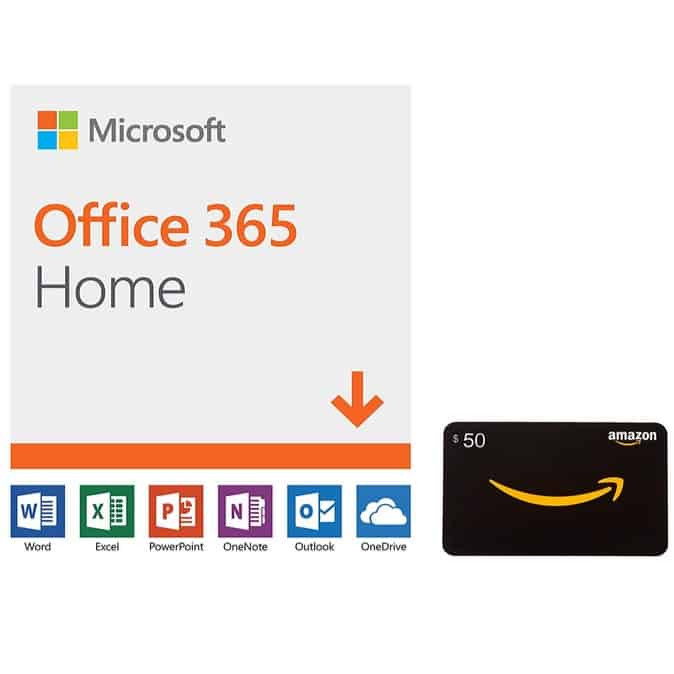 Microsoft Office 365 Home 12-mo Subscription + $50 Gift Card Only $99.99