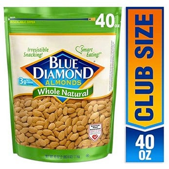 Blue Diamond Almonds, Raw Whole Natural, 40 Ounce Only $10.98