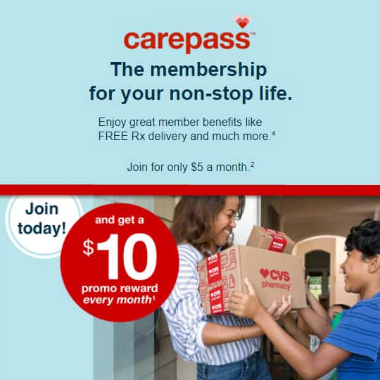 Join CVS Carepass Pay $5 per month get $10 CVS Credit each month