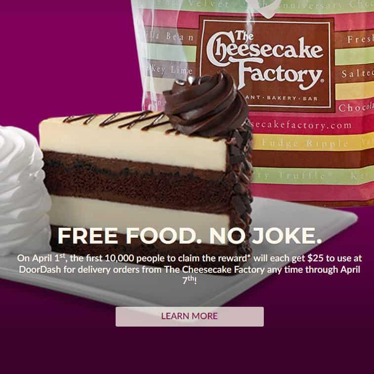 doordash cheesecake factory promo