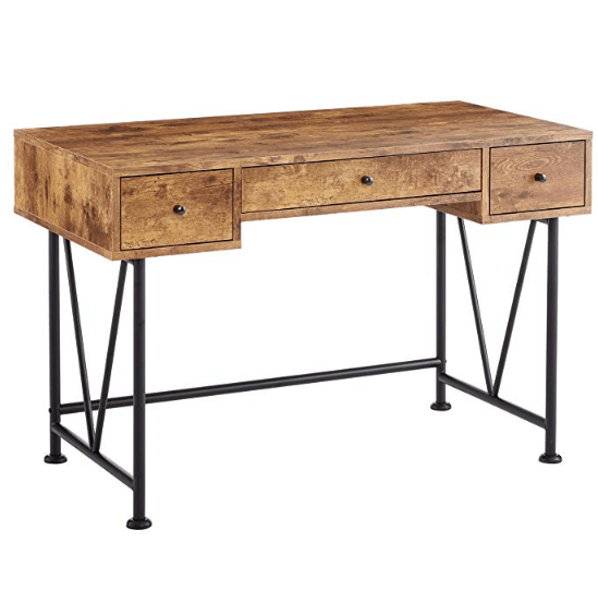 Glavan 3-Drawer Writing Desk with Antique Nutmeg and Black Only $158