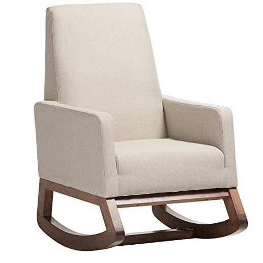 Baxton Studio Yashiya Mid Century Rocking Chair, Light Beige $244.69 (Was $450)