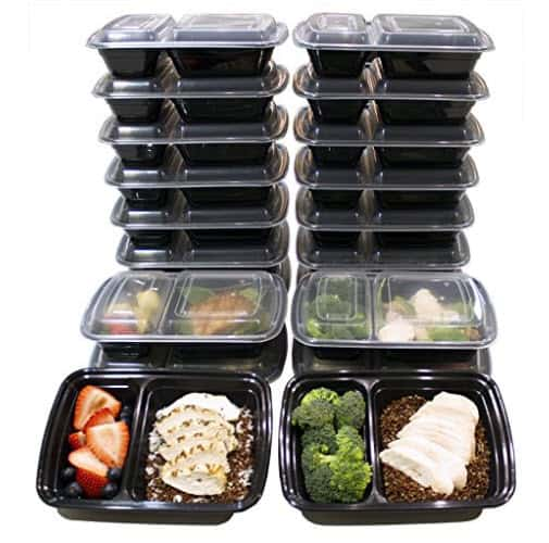 20 Pack of 32 Oz Two Compartment Meal Prep Containers BPA-Free $13.59