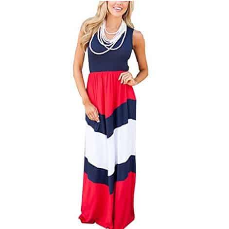 shangke Womens Zig Zag Scoop Neck Wave Striped Tank Maxi Long Dress Only $10.79