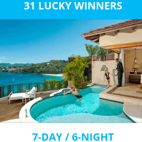 Win a FREE 7 Day Trip to ANY Sandals or Beaches Resort **31 Winners**