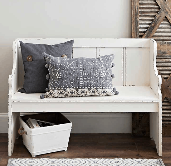 Kirkland: Distressed Ivory Pew Bench ONLY $75 Shipped (Was
