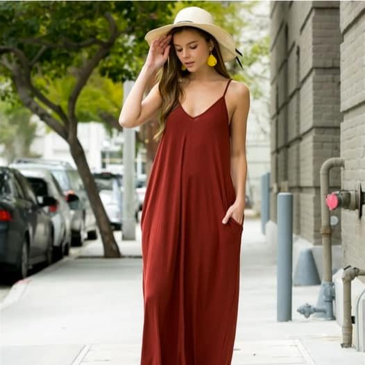 V-neck Maxi Dresses with Pockets Only $16.99