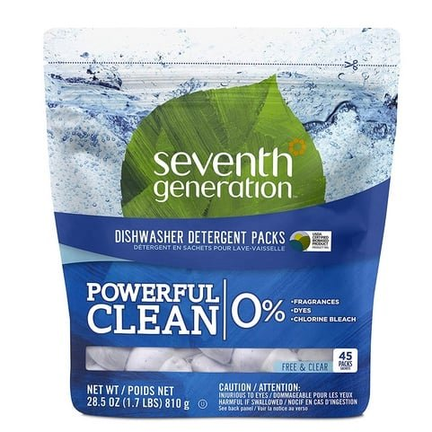 Seventh Generation Fragrance Free Dishwasher Detergent Packs 45-Count Only $7.79