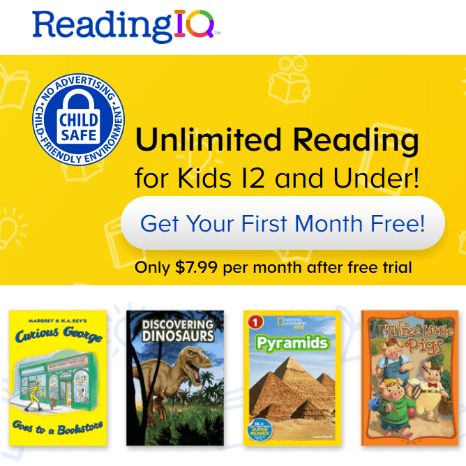 Reading IQ - Unlimited Reading for Kids 12 and Under! Get Your First Month Free!
