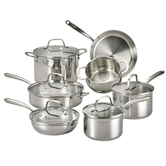 Lagostina Tri-Ply Stainless Steel Multiclad Cookware Set, 12-Piece, Silver $102.00