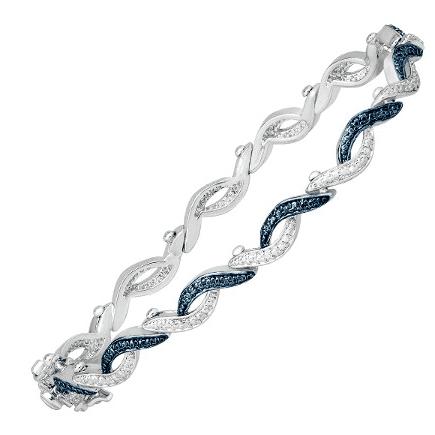 Jewelry.com: Finecraft Wave Tennis Bracelet with Blue Diamond $19 (Was $109)