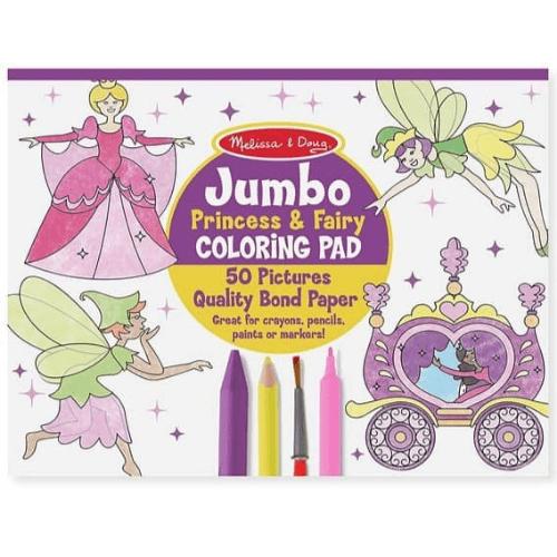 Melissa & Doug Princess & Fairy Jumbo Coloring Pad Only .92 (Was )
