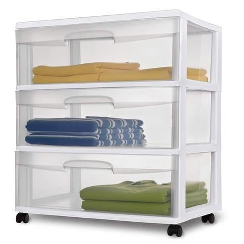 Sterilite Wide 3 Drawer Cart with Casters Only $18.98
