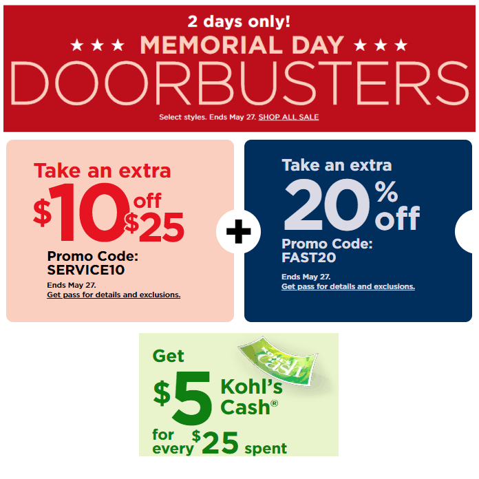 Kohl's: $10 off ANY $25 Purchase + Extra 20% Off + Kohl's Cash!!!