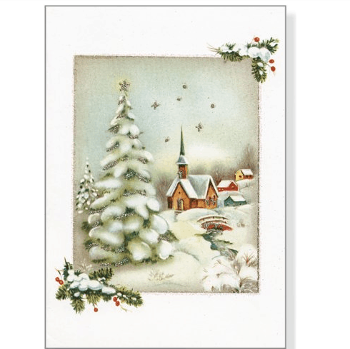 Vintage Winter Church Small Boxed Holiday Cards (Christmas Cards, Holiday Cards, Greeting Cards) $2.74