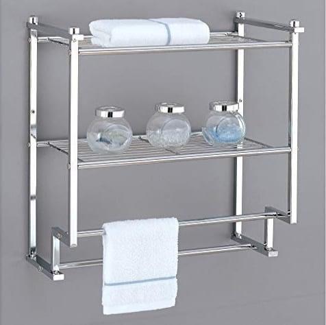 Organize It All Chrome 2 Tier Wall Mounting Bathroom Rack $22.56