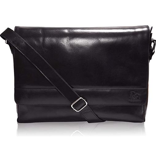 Leather Laptop Messenger Bag for Men - Premium Office Black Briefcase $39.99