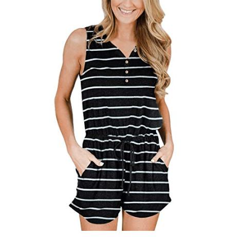 Super Cute Women's Sleeveless Button Down Romper Only $19.79