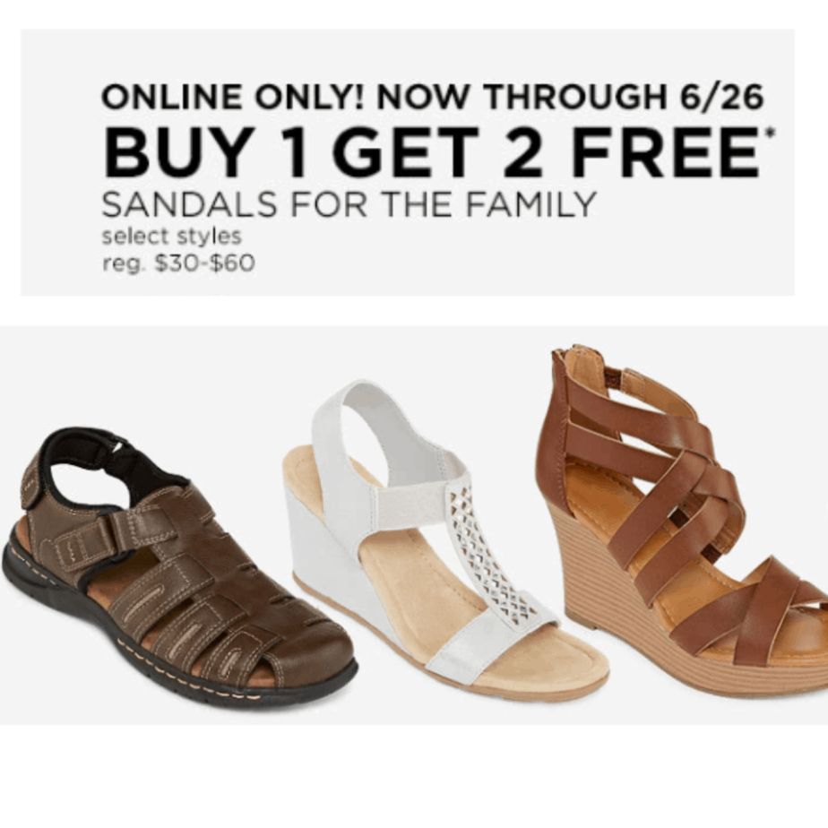 JCPenney: Buy One Pair of Sandals, Get Two FREE