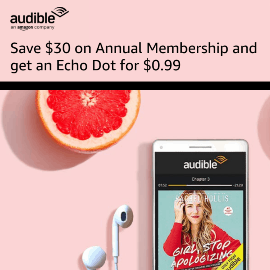 Prime Members: Save on Audible Membership and get an Echo Dot for $0.99