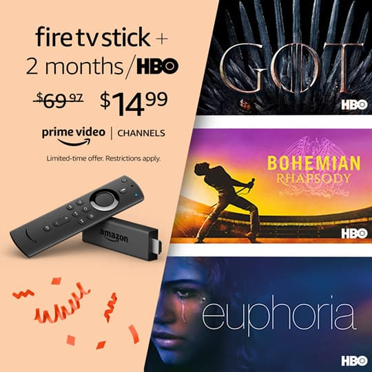 Prime Day Deal: Fire TV Stick with Alexa Remote plus 2 months of HBO Only $14.99