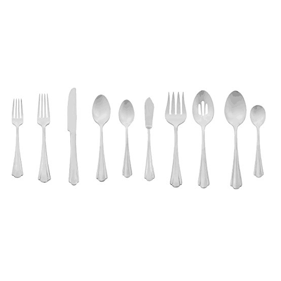 AmazonBasics 45-Piece Stainless Steel Flatware Silverware Set with Scalloped Edge, Service for 8 Only $21.18
