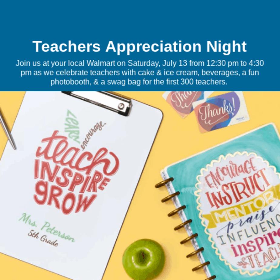 Teachers Appreciation Event at Walmart: Free Swag Bag on 7/13