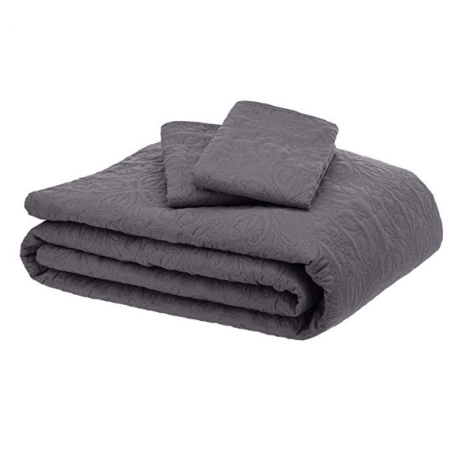 AmazonBasics Oversized Quilt Coverlet Bed Set - King, Dark Grey Floral $26.38