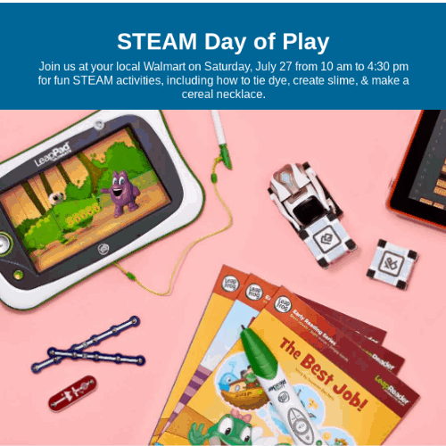FREE Kids Steam Day of Play Event at Walmart on July 27th