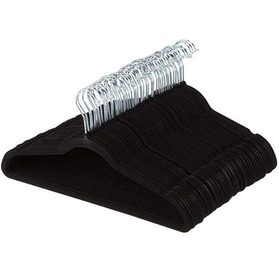 AmazonBasics Velvet Suit Clothes Hangers, 100-Pack, Black Only $20 #PrimeDay