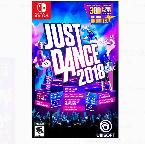 Best Buy: Just Dance 2018, Ubisoft, Nintendo Switch ONLY $15 (Was $60)