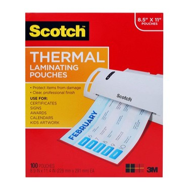 Scotch Thermal Laminating Pouches, 8.9 x 11.4 -Inches, 100-Pack Only $10.54